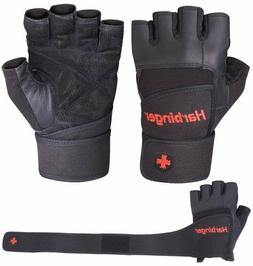 Harbinger 140 Pro Wristwrap Weight Lifting Gloves - Black -