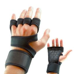 Gym Gloves Hand Grip Palm Protector Wrist Wrap Crossfit Weig