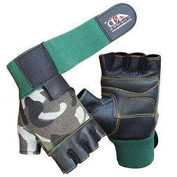ARD CHAMPS Leather Weight Lifting Gloves Long Wrist Wrap Pad