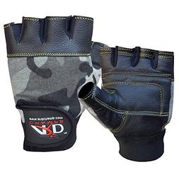 ARD CHAMPS Leather Weight Lifting Gloves Wrist Wrap Paded St