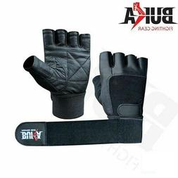 BUKA  LEATHER GYM GLOVES FITNESS WEIGHT LIFTING TRAINING BOD