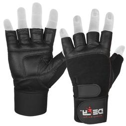defy real leather padded gym gloves fitness