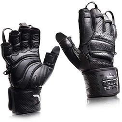 "Elite Leather Gym Gloves with Built in 2"" Wide Wrist Wraps B"