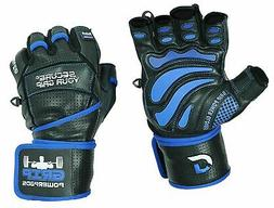 """Grip Power Pads Elite Leather Gym Gloves with Built-in 2"""""""
