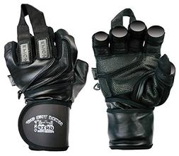 "Epic Leather Gym Gloves with Built in 2"" Wide Wrist Wraps Be"