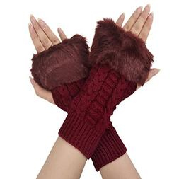 Simplicity Ladies Fingerless Faux Fur Gloves Trendy Fashion