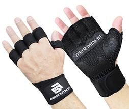 Fit Active Sports Extreme Grip Weight Lifting Gloves with Wr
