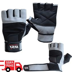 Grip Weight Lifting Gloves Gym Power Training Fitness Leathe