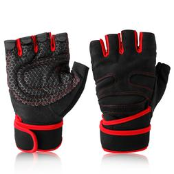 Half Finger Weight Lifting Gym Gloves Fitness Wrist Wrap Str