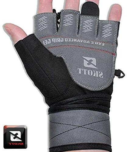 2018 2 Gloves with Integrated Wrap Support-Double Extra Durability-Get the Best Body Building Fitness Exercise Accessories