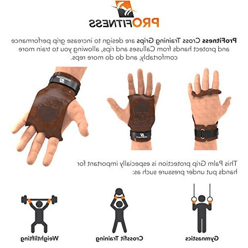 ProFitness Leather Cross Training Gymnastic - Grip Protection with Wrist for Ups Tan