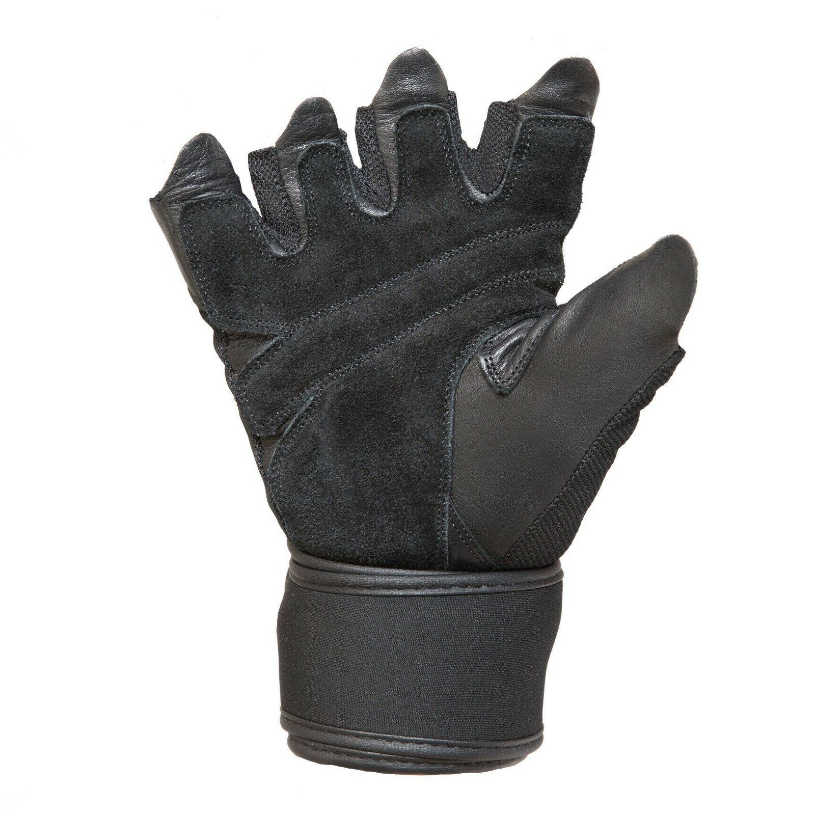 Contraband Mens Stretch Fit Wrap Gloves w/ Leather Palm