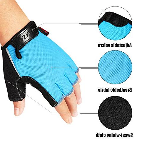 OZERO Gloves Deerskin Leather Shockproof Gel Pads, Finger for Cycling/Mountain Lifting/Gym/Motorcycle Women Blue