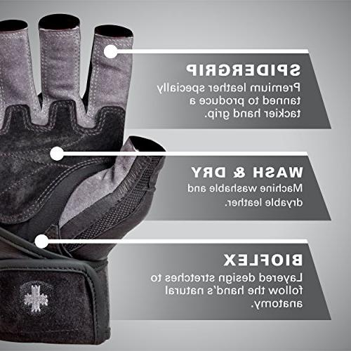 Harbinger Men's WristWrap Weightlifting Gloves Grip Leather Small