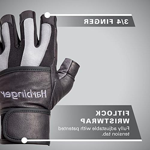 Harbinger Men's WristWrap Weightlifting Gloves Spider Grip Palm Small
