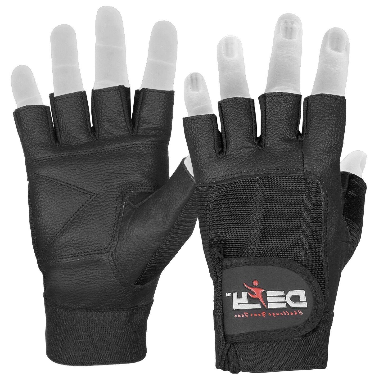 defy real leather spandex padded gym gloves