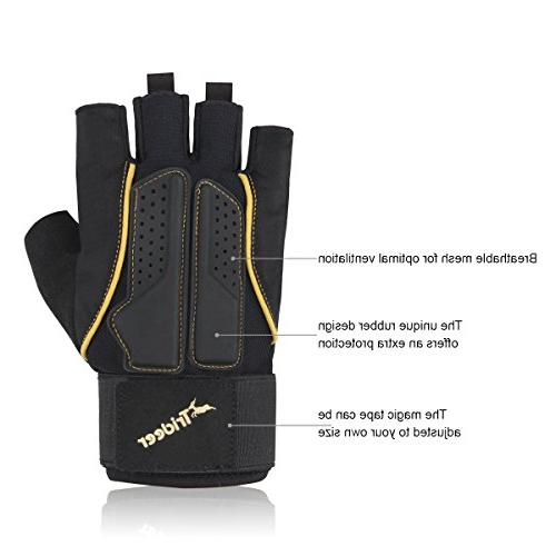 Trideer Double Protection Lifting Gym Gloves for Extra Grip, Breathable & Gloves for Women )
