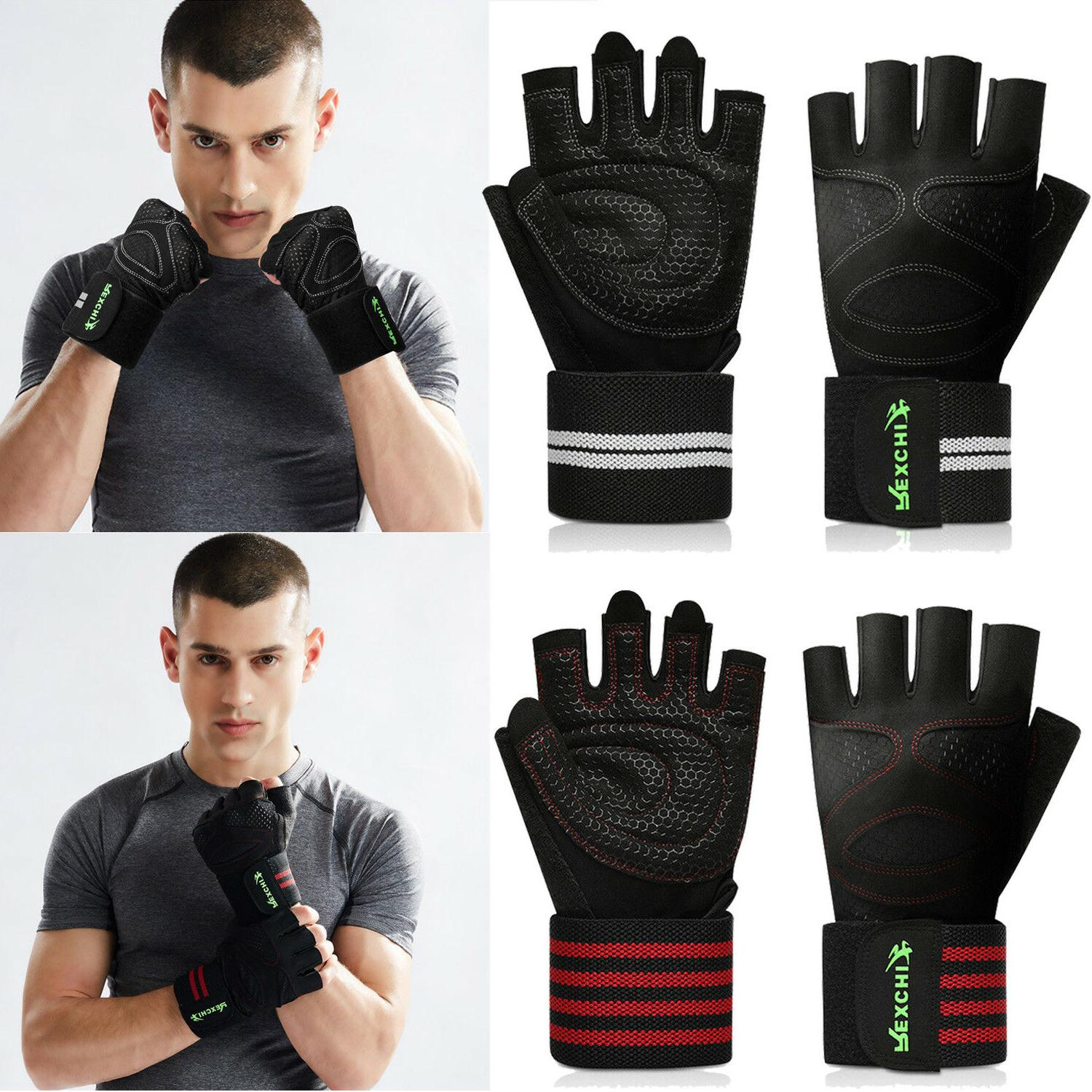 gym half gloves wrist wrap weight lifting