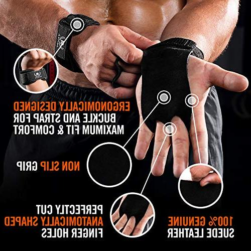 Mava Sports Leather Grips Wrist - Great WOD, Muscle Weightlifting & Calisthenics