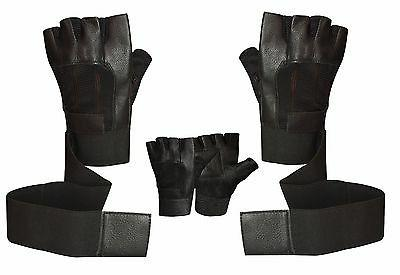 Prime Sports Leather Padded Long Weight Lifting Gloves W-1045