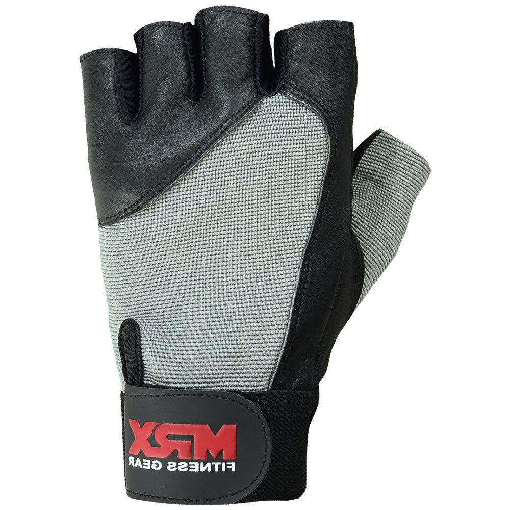 Weight Gloves Fitness Training Leather Black Grey S