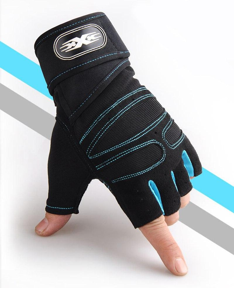 Men Training Half Finger <font><b>Gloves</b></font> Non-Slip Breathable Extended Support Bodybuilding <font><b>Weightlifting</b></font>