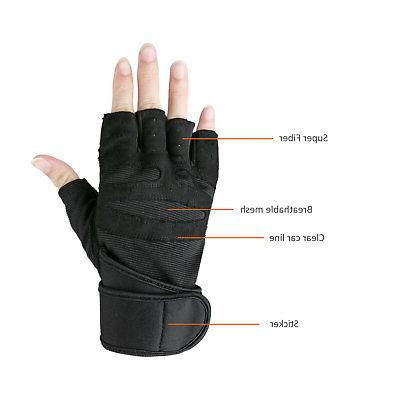 Men Gym Sports Wrist Wrap Workout Gloves