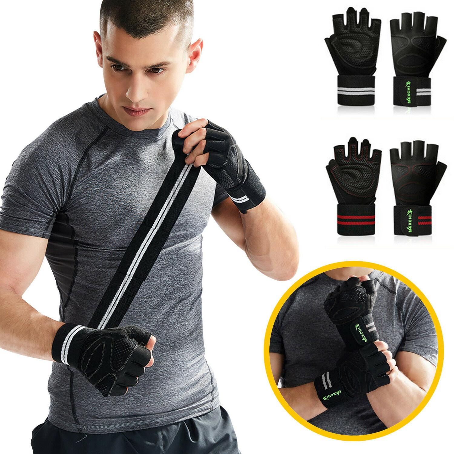 mens women gym gloves with wrist wrap