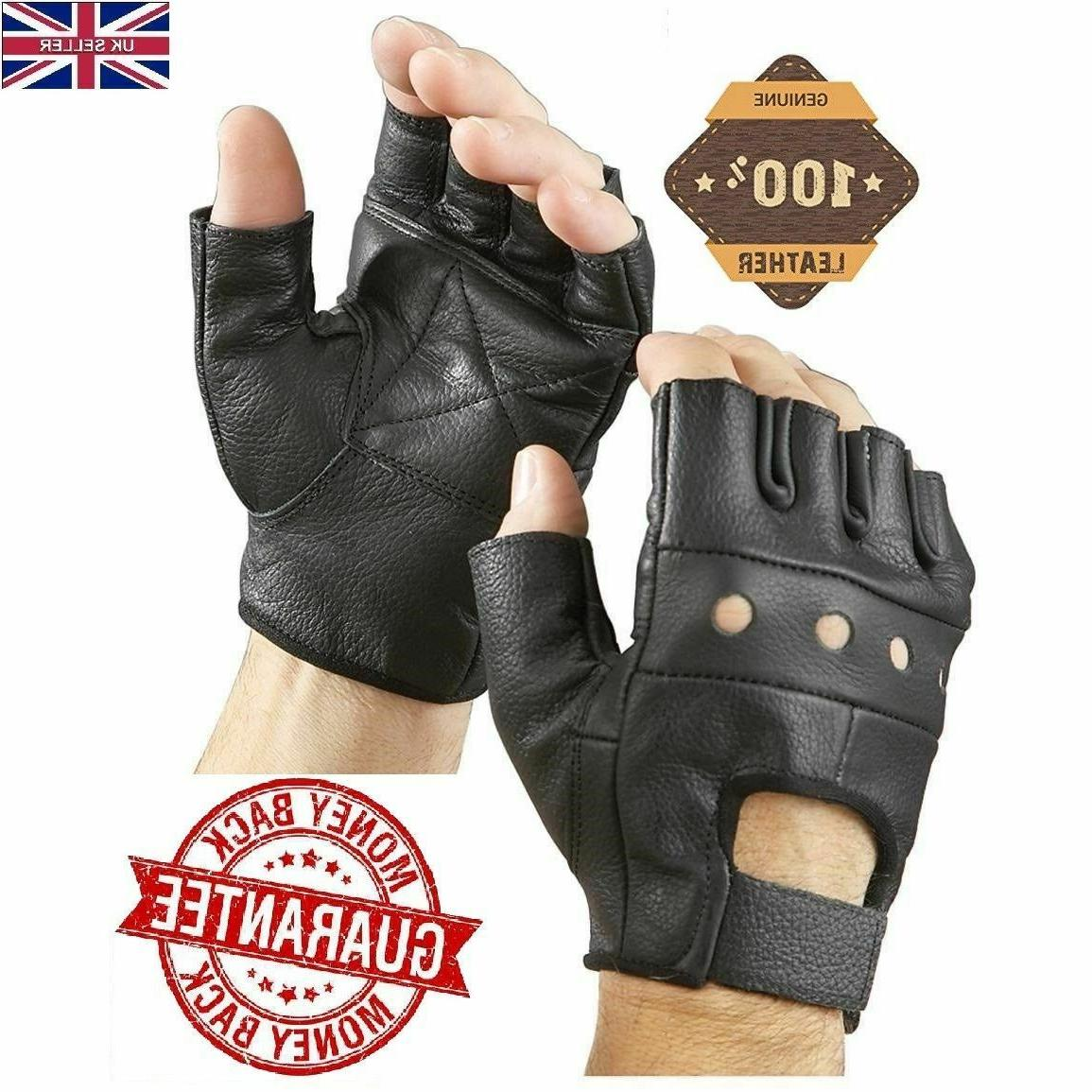 New Half Finger Leather Gloves Wheelchair Cycling Driving Fi