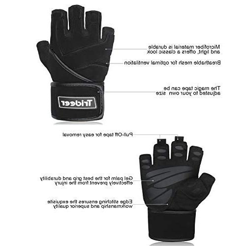 Trideer Padded Gloves with Wraps Gloves for Powerlifting, Training, Men & )
