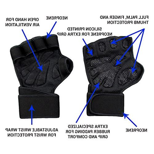 New Ventilated Gloves with & Extra for Training, Weightlifting. Men Women
