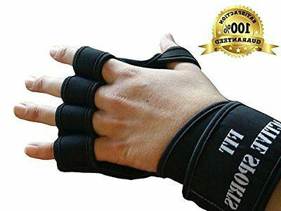 New Ventilated Weight Lifting Gloves with Built-In Wrist Wra