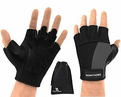 weight lifting gym gloves fingerless medium black