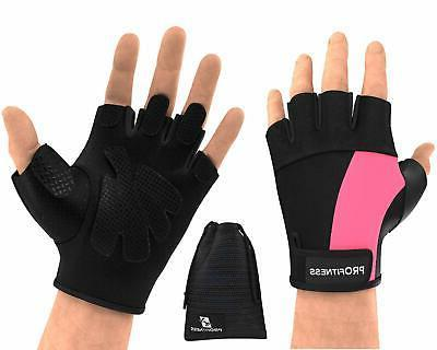 weight lifting gym gloves fingerless durable padded