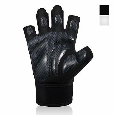weight lifting gym gloves with wrist wrap