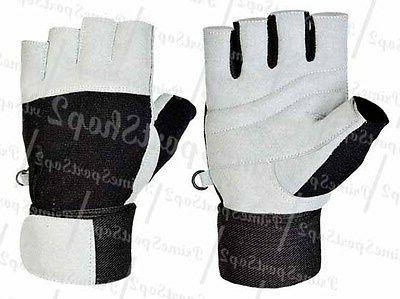 weight lifting gym padded leather gloves fitness