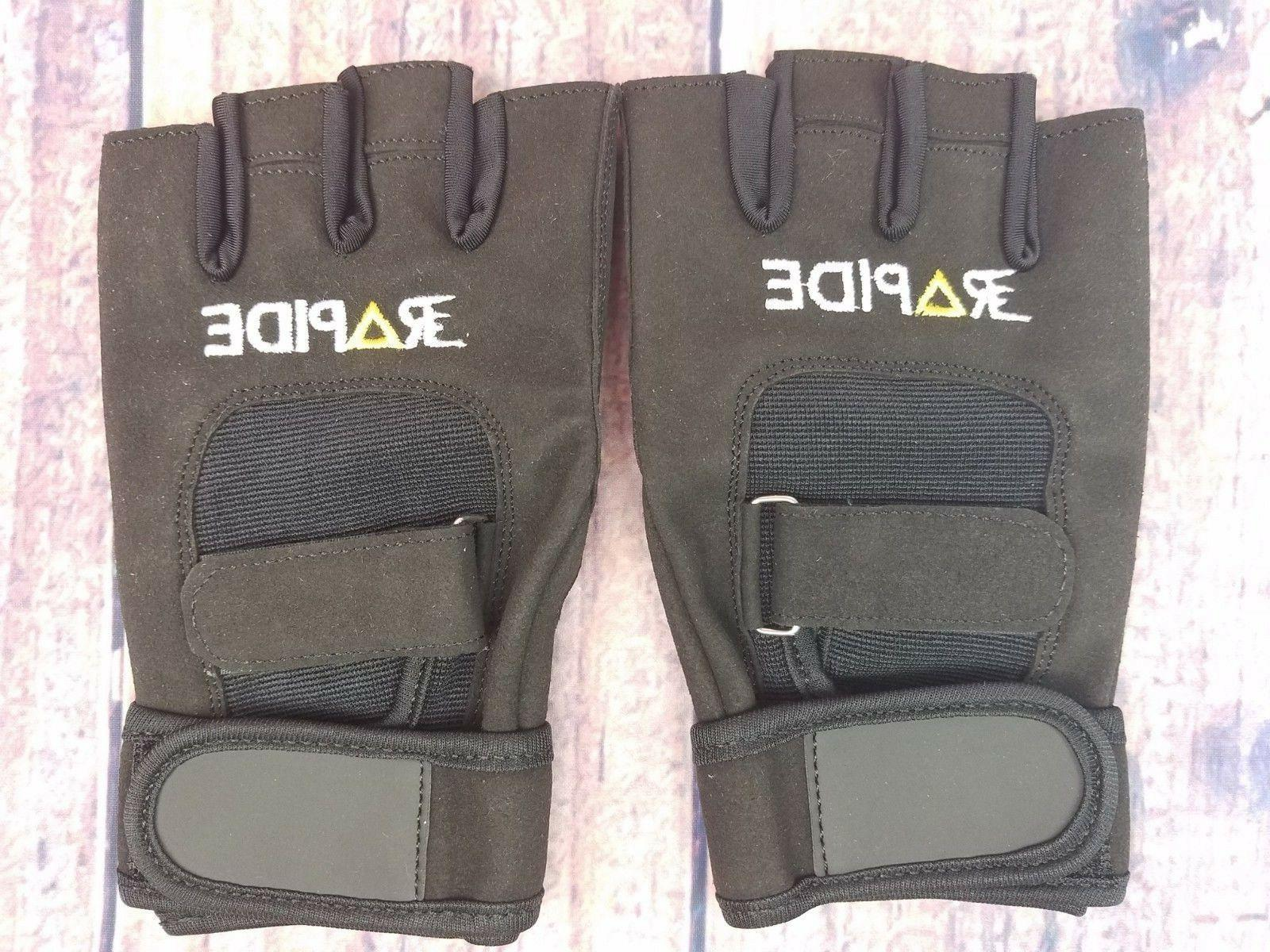 weightlifting gloves black washable leather with straps