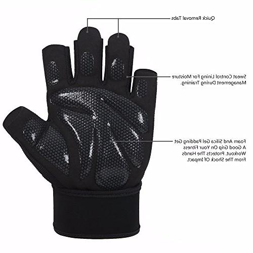 fenglei Microfiber Silica Gel Gloves for Weightlifting, Fitness