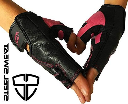 Steel Sweat Gloves - Best for Gym Crossfit – Made Men and Women who Love Lifting Weights and Exercise - Leather SCARR Black/Pink