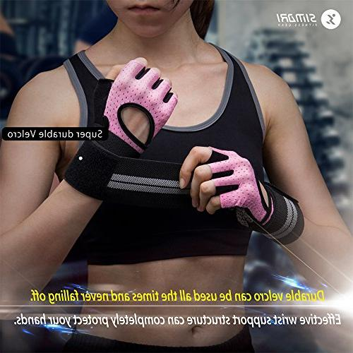 SIMARI Workout Gloves Women Men,Training Fitness Exercise Weight Gym Lycra SMRG902(Pink M)