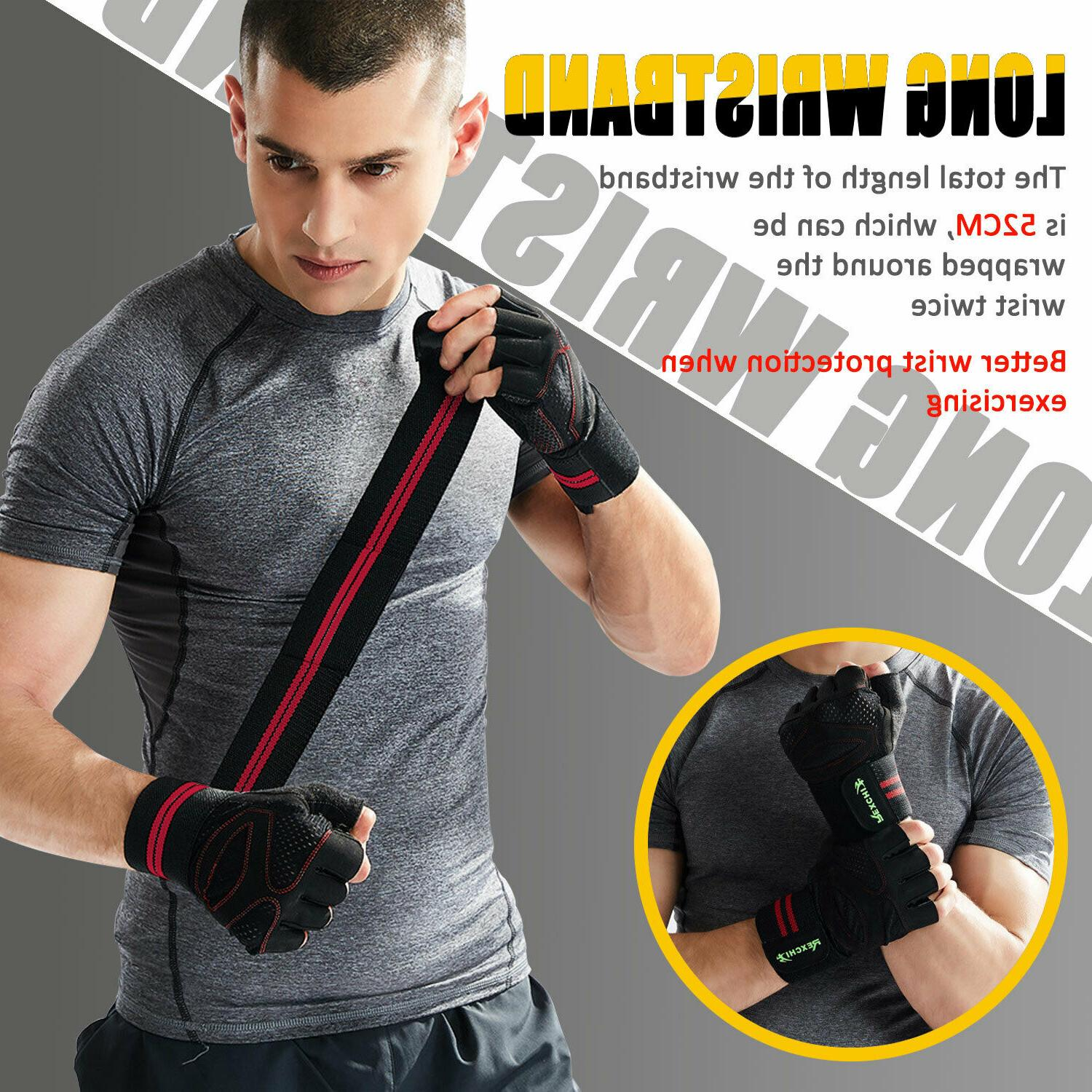 Mens Gym Gloves With Wrap Support For Weight Lifting