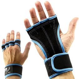Mava Sport Leather Grip Gloves with Gym Wrist Support for Wo