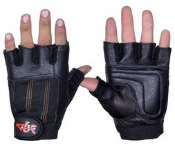 4Fit Leather Weight Lifting Gloves Gym Fitness Exercise Body