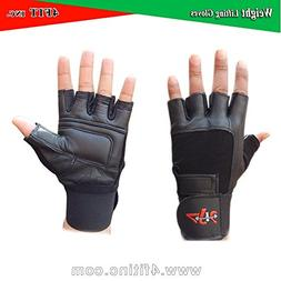 4Fit Leather Weight Lifting Gloves Long Wrist Wrap Padded St