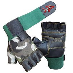 4Fit Inc Leather Weight Lifting Gloves Long Wrist Wrap Paded