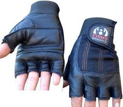 ARD-Champs Leather Weight Lifting Gloves Padded Gym Body Bui