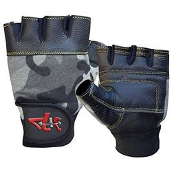 4Fit Inc Leather Weight Lifting Gloves Wrist Wrap Paded Stre