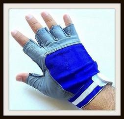 4Fit Leather Weight Lifting Gloves Wrist Wrap Exercise Train