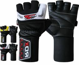 RDX Leather Weight Lifting Gloves Gym Exercise Fitness Worko