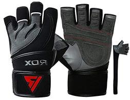 RDX Weight Lifting Gloves Leather Cowhide Gym Crossfit Worko